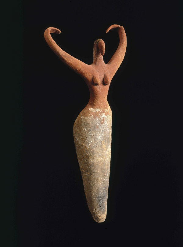 Female Figurine. Egypt, from Ma'mariya. Predynastic Period, Naqada II, circa 3500–3400 B.C.E. Terracotta, painted, 111⁄2 x 51⁄2 x 21⁄4 in. (29.2 × 14 × 5.7 cm). Brooklyn Museum, Charles Edwin Wilbour Fund, 07.447.505