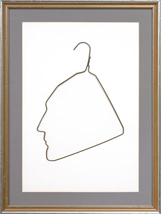 Ai Weiwei (Chinese, b. 1957). Profile of Marcel Duchamp in a Coat Hanger, 1986. Wire clothes hanger, hanger: 15 x 11 in. (38.1 x 27.9 cm), frame: 27 x 20 in. (68.6 x 50.8 cm). Collection of Larry Warsh. © Ai Weiwei. Photo: Tim Nighswander/IMAGING4ART