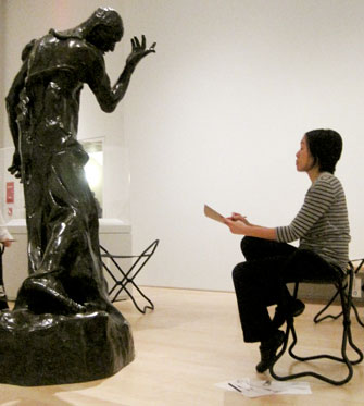 Student drawing in the galleries